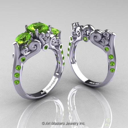 Art Masters 10K White Gold Three Stone Peridot Modern Antique Wedding Ring Set R515S-14KWGP-1