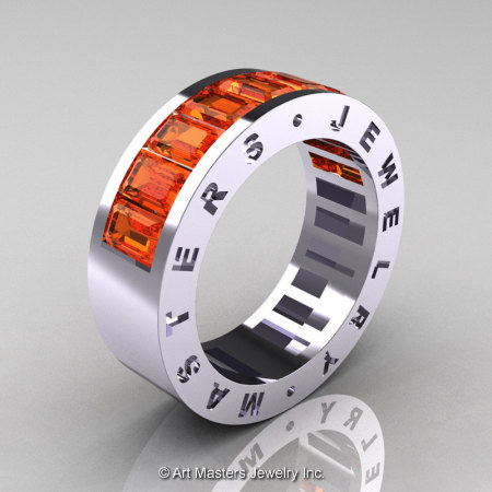 Womens Modern 14K White Gold Orange Sapphire Channel Cluster Wedding Band R174RF-14WGOS-1