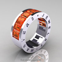 Mens Modern 14K White Gold Orange Sapphire Channel Cluster Wedding Band R174RM-14WGOS-1