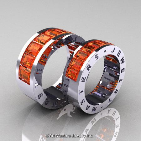 Art Masters Modern 14K White Gold Orange Sapphire Channel Cluster Wedding Band Set R174RS-14WGOS-1