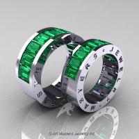 Art Masters Modern 14K White Gold Emerald Channel Cluster Wedding Band Set R174RS-14WGEM-1
