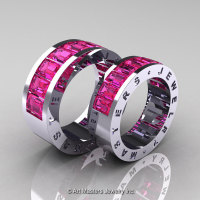 Art Masters Modern 14K White Gold Pink Sapphire Channel Cluster Wedding Band Set R174RS-14WGPS-1
