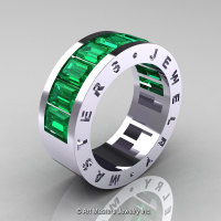 Mens Modern 14K White Gold Emerald Channel Cluster Wedding Band R174RM-14WGEM-1