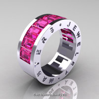 Mens Modern 14K White Gold Pink Sapphire Channel Cluster Wedding Band R174RM-14WGPS-1