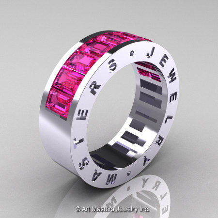 Womens Modern 14K White Gold Pink Sapphire Channel Cluster Wedding Band R174RF-14WGPS-1