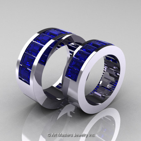 Art Masters Modern 14K White Gold Blue Sapphire Channel Cluster Wedding Band Set R174RS-14WGBS-1