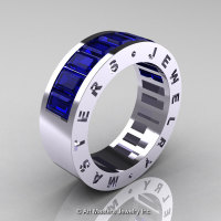 Womens Modern 14K White Gold Blue Sapphire Channel Cluster Wedding Band R174RF-14WGBS-1
