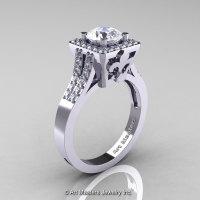 Art Masters French 14K White Gold 1.0 Carat White Sapphire Diamond Engagement Ring R215-14KWGDWS-1
