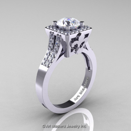 Art Masters French 14K White Gold 1.0 Carat White Sapphire Diamond Engagement Ring R215-14KWGDWS-1