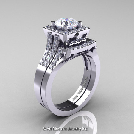 Art Masters French 14K White Gold 1.0 Carat White Sapphire Diamond Engagement Ring Wedding Band Set R215S-14KWGDWS-1