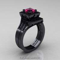 Art Masters French 14K Black Gold 1.0 Carat Princess Pink Sapphire Black Diamond Engagement Ring Wedding Band Set R215PS-14KBGBDPS-1