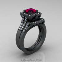 French 14K Matte Black Gold 1.0 Ct Princess Rose Ruby Diamond Engagement Ring Wedding Band Set R215PS-14KMBGDRR-1