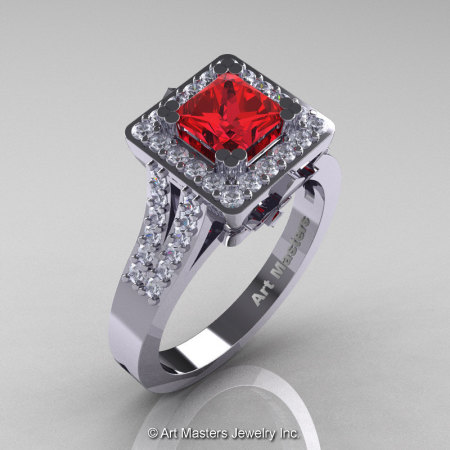 French 14K White Gold 1.0 Ct Princess Ruby Diamond Engagement Ring R215P-14KWGDR-1