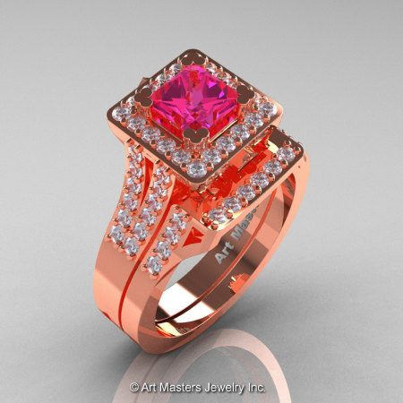 French 14K Rose Gold 1.0 Ct Princess Pink Sapphire Diamond Engagement Ring Wedding Band Set R215PS-14KRGDPS-1