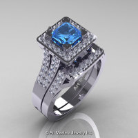 French 14K White Gold 1.0 Ct Princess Blue Topaz Diamond Engagement Ring Wedding Band Set R215PS-14KWGDBT-1