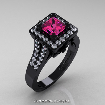 Art Masters French 14K Black Gold 1.0 Ct Pink Sapphire Diamond Engagement Ring R215-14KBGDPS-1