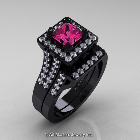 Art Masters French 14K Black Gold 1.0 Ct Princess Pink Sapphire Diamond Engagement Ring Wedding Band Set R215PS-14KBGDPS-1