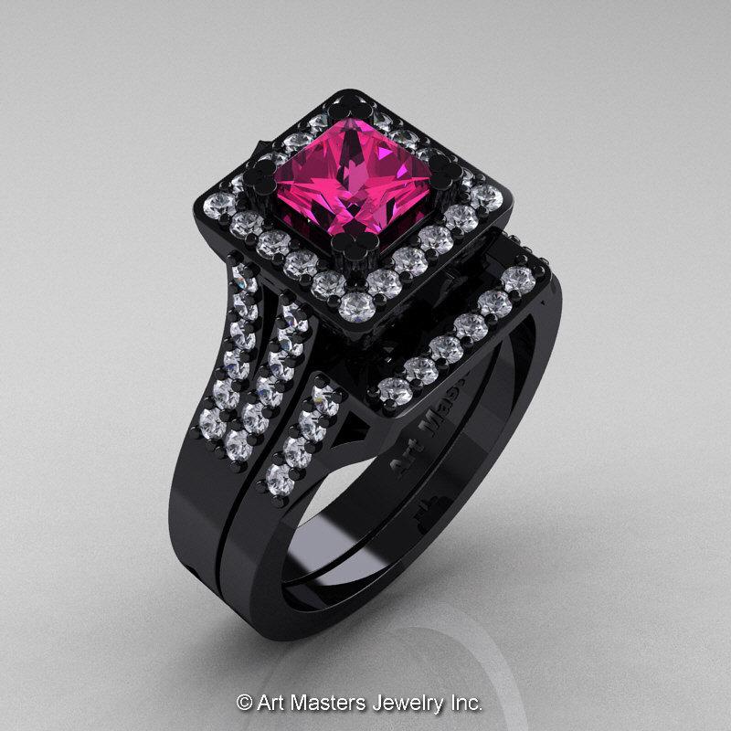 Art Masters French 14K Black Gold 1 0 Ct Princess Pink Sapphire Diamond Engag