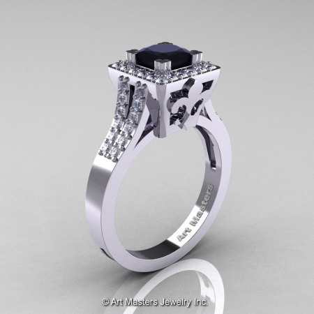 Art Masters French 14K White Gold 1.0 Carat Princess Black and White Diamond Engagement Ring R215P-14KWGDBD-1