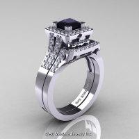 Art Masters French 14K White Gold 1.0 Carat Princess Black and White Diamond Engagement Ring Wedding Band Set R215PS-14KWGDBD-1