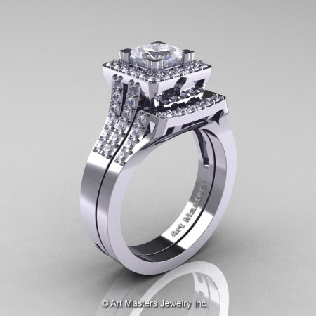Art Masters Renaissance 14K White Gold 1.0 Carat Princess White Sapphire Diamond Engagement Ring Wedding Band Set R215PS-14KWGDWS-1