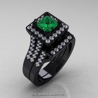Art Masters French 14K Black Gold 1.0 Ct Princess Emerald Diamond Engagement Ring Wedding Band Set R215PS-14KBGDEM-1