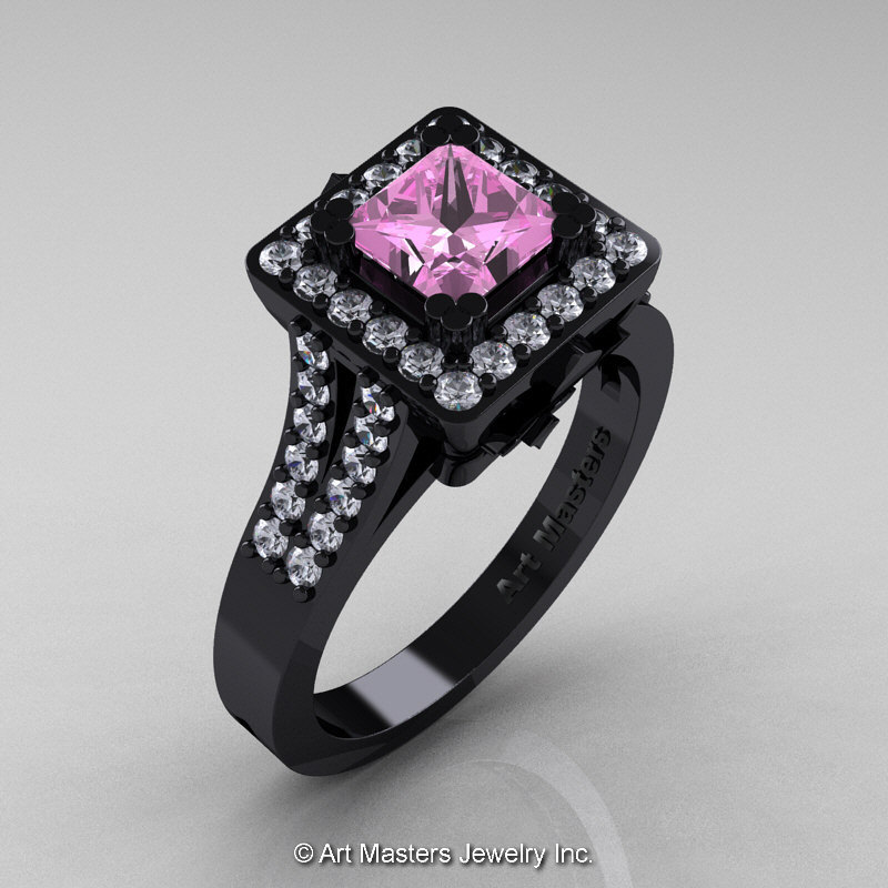 Art Masters French 14K Black Gold 1 0 Ct Light Pink Sapphire Diamond Engageme