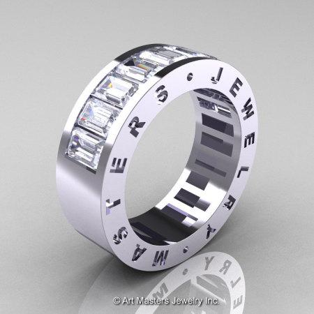 Womens Modern 14K White Gold White Sapphire Channel Cluster Wedding Band R174RF-14WGWS-1
