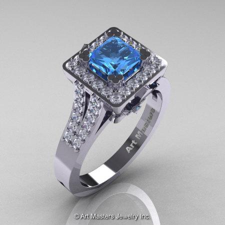 French 14K White Gold 1.0 Ct Princess Blue Topaz Diamond Engagement Ring R215P-14KWGDBT-1