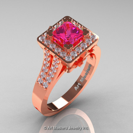 French 14K Rose Gold 1.0 Ct Princess Pink Sapphire Diamond Engagement Ring R215P-14KRGDPS-1