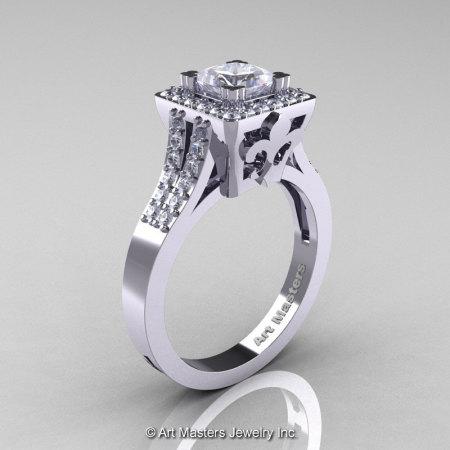 Art Masters Renaissance 14K White Gold 1.0 Carat Princess White Sapphire Diamond Engagement Ring R215P-14KWGDWS-1