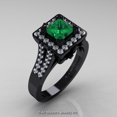 Art Masters French 14K Black Gold 1.0 Ct Emerald Diamond Engagement Ring R215-14KBGDEM-1