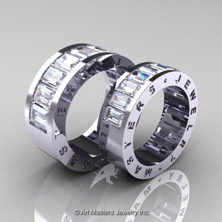 Art Masters Modern 14K White Gold White Sapphire Channel Cluster Wedding Band Set R174RS-14WGWS-1