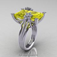 Modern Bridal 10K White Gold Radiant Yellow Topaz Diamond Honeymoon Cocktail Ring R292-10KWGDYT-1