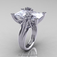 Modern Bridal 10K White Gold Radiant Cubic Zirconia Diamond Honeymoon Cocktail Ring R292-10KWGDCZ-1