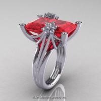 Modern Bridal 10K White Gold Radiant Ruby Diamond Honeymoon Cocktail Ring R292-10KWGDR-1