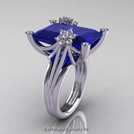 Modern Bridal 10K White Gold Radiant Royal Blue Sapphire Diamond Honeymoon Cocktail Ring R292-10KWGDBS-1