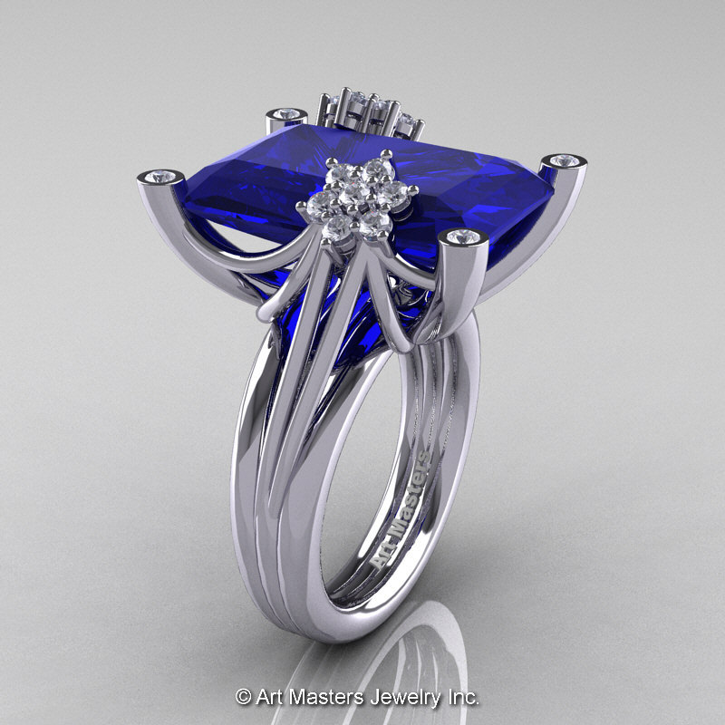 Modern Bridal 10K White Gold Radiant Royal Blue Sapphire Diamond