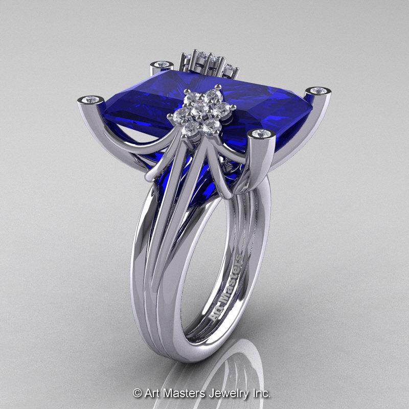 Modern Bridal 10k White Gold Radiant Royal Blue Shire Diamond Honeymoon Tail Ring R292 10kwgdbs