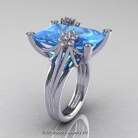 Modern Bridal 10K White Gold Radiant Blue Topaz Diamond Fantasy Cocktail Ring R292-10KWGDBT-1