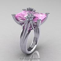 Modern Bridal 10K White Gold Radiant Light Pink Sapphire Diamond Fantasy Cocktail Ring R292-10KWGDLPS-1