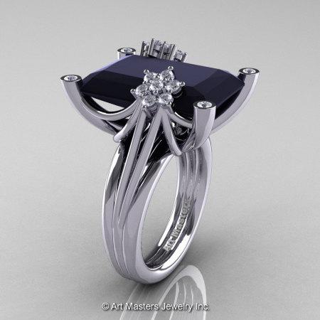 Modern Bridal 10K White Gold Radiant Black and White Diamond Fantasy Cocktail Ring R292-10KWGDBD-1