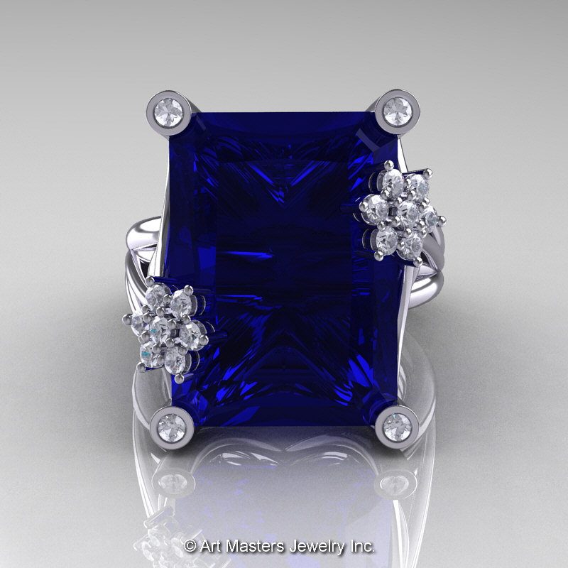 star ring cocktail platinum unheated pin sapphire carat vintage
