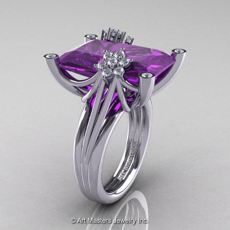 Modern Bridal 10K White Gold Radiant Lavender Amethyst Diamond Fantasy Cocktail Ring R292-10KWGDAM-1