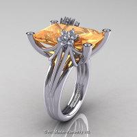 Modern Bridal 10K White Gold Radiant 15.0 Ct Peach Sapphire Diamond Honeymoon Cocktail Ring R292-10KWGDPES-1