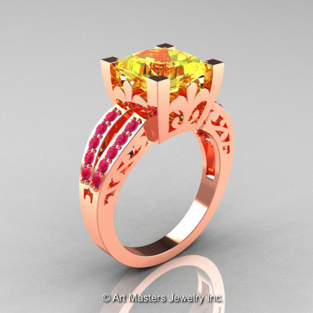 French Vintage 14K Rose Gold 3.8 Carat Princess Yellow Pink Sapphire Solitaire Ring R222-14KRGDPSYS-1