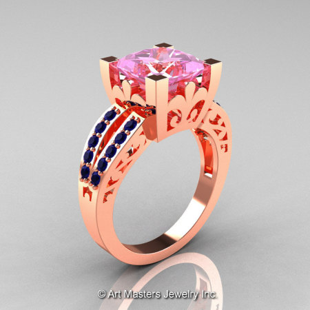 French 14K Rose Gold 3.8 Carat Princess Light Pink Blue Sapphire Solitaire Ring R222-14KRGBSLPS-1