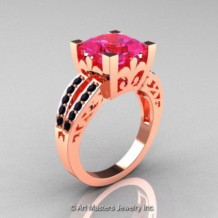 French 14K Rose Gold 3.8 Carat Princess Pink Sapphire Black Diamond Solitaire Ring R222-14KRGBDPS-1