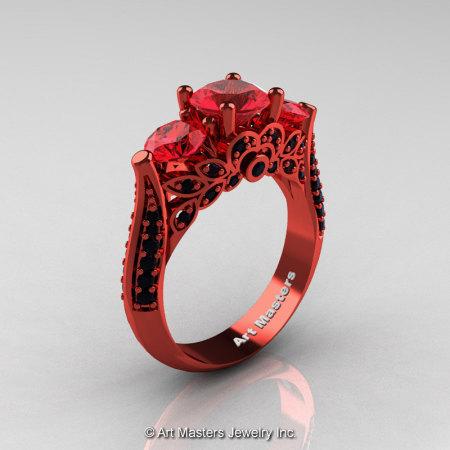Art Masters R200 Classic 14K Red Gold Three Stone Rubies Black Diamond Solitaire Ring 14KREGBDR-1