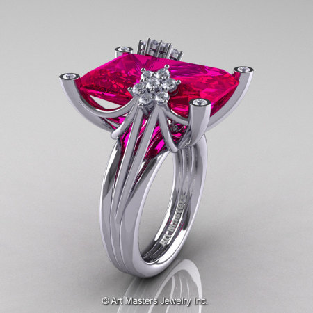 Modern Bridal 10K White Gold Radiant Cut 15.0 Ct Pigeon Blood Ruby Diamond Fantasy Cocktail Ring R292-10KWGDPBR-1